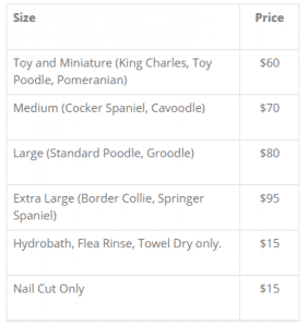 Dog Grooming Pricing Table